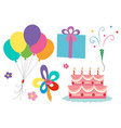 birthday theme with cake and balloons vector image
