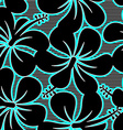 Black blue and white hibiscus lines seamless vector image vector image