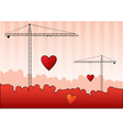 Black silhouettes of cranes with red heart
