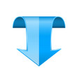 blue down 3d arrow bent sign vector image