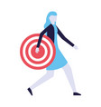 business woman holding target vector image vector image