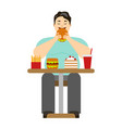cartoon man eating fast food vector image vector image