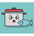 cartoon pot and fish facial expression isolated vector image