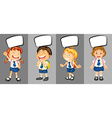 Children in school uniform with speech bubbles vector image vector image
