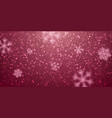 christmas snow falling snowflakes on red vector image vector image