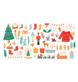 christmas stickers winter holiday decorations vector image vector image