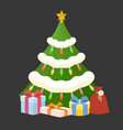 christmas tree with present box vector image vector image