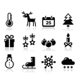 Christmas winter black icons set vector image vector image