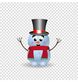 cute cartoon character of snowman with hands up vector image vector image