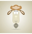 Cute cartoon smiling sheep standing facing the vector image