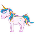 cute cartoon unicorn over white background vector image