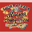 cute short track racing team vector image vector image