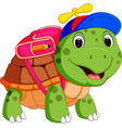 cute turtle go to school vector image