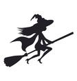 Cute witch flying on a broom vector image vector image