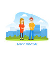 deaf man and woman talking to each other vector image