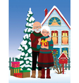 Elderly couple getting gifts at Christmas vector image vector image