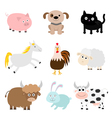Farm animal set Cock pig dog cat cow rabbit ship vector image