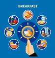 flat breakfast concept vector image vector image