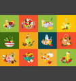 flat compositions with food and drinks vector image vector image