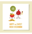 Funny apple and pomegranate on a card for rosh vector image vector image