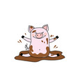 funny pig in the mudisolated on white background vector image