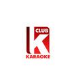 karaoke club letter k icon vector image vector image