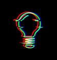 light bulb line symbol in glitch style electric vector image vector image