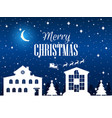 merry christmas winter landscape with houses fir vector image vector image