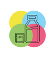 milk bottle and glass vector image vector image
