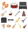 musical instrument cartoon icons in set collection vector image vector image