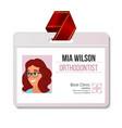 orthodontist identification badge woman vector image vector image