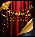 red gold christmas calligraphy sale banner vector image vector image