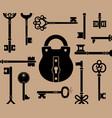 retro keys and lock vector image vector image