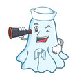 sailor with binocular cute ghost character cartoon vector image