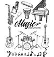 set monochrome images musical instruments vector image vector image