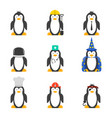 set of cartoon penguins with various professions vector image