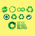 set reduce reuse recycle concept vector image