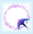 spring with swallow and flowers vector image vector image