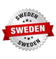Sweden round silver badge with red ribbon vector image vector image