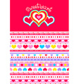 sweet heart with hearts and matching striped vector image vector image