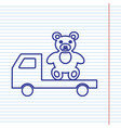 truck with bear navy line icon on vector image vector image