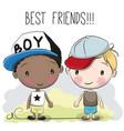 two cute cartoon boys vector image