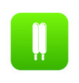 two sticks ice cream icon green vector image vector image