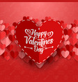 valentines greeting cards with red paper hearts vector image