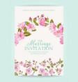 wedding invitation card with pink flowers vector image vector image