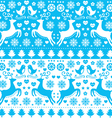 Winter Christmas seamless blue reindeer pattern vector image vector image