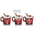 winter drinks with marshmallow red mugs vector image vector image