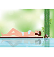 young beautiful woman relaxing in spa environment vector image vector image
