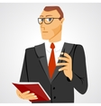 businessman with business diary and ball pen vector image