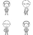 racer boys doodle collection vector image